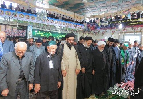 اقامه نماز روز عاشورا به امامت حضرت آیت الله علوی گرگانی در مسجد اعظم روستای النگ