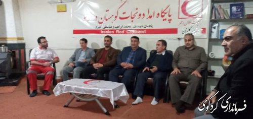 فرماندارکردکوی از کمپ امداد و نجات جمعیت هلال احمر روستای درازنو بازدید کردند