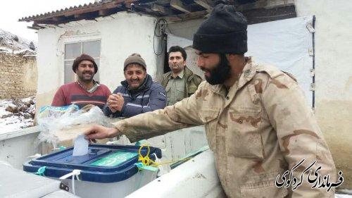 حضور مردم روستای چمن ساور از توابع بخش مرکزی شهرستان کردکوی  در انتخابات